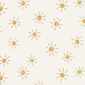 mini micro // Freehand scattered sunshines Rich by Erin Kendal golden yellow on bone