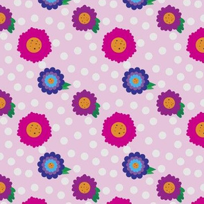 Pastel Polka Dots with Flowers