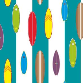 Hanalei Surfboards on blue ocean stripe