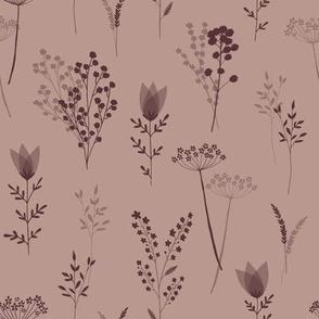 Wild Flower Stems - Dusky Pink