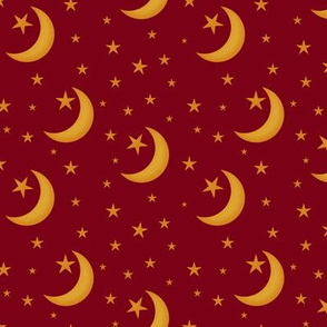 Gold Stars and Moon Scattered Across a  Blood Red
