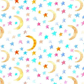 dreamy moons and stars for modern nursery - watercolor astrology kids baby night sky a 123-1