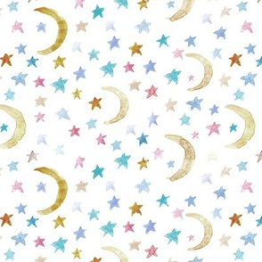 dreamy moons and stars for modern nursery - watercolor astrology kids baby night sky a 123-2