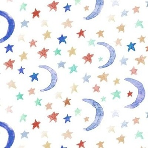 dreamy moons and stars for modern nursery - watercolor astrology kids baby night sky a 123-3