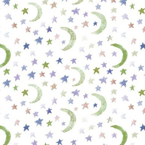 dreamy olive moons and stars for modern nursery - watercolor astrology kids baby night sky a 123