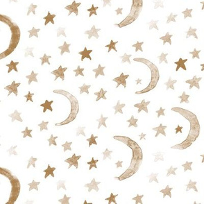 Neutral earthy dreamy moons and stars for modern nursery - watercolor astrology kids baby night sky a 123