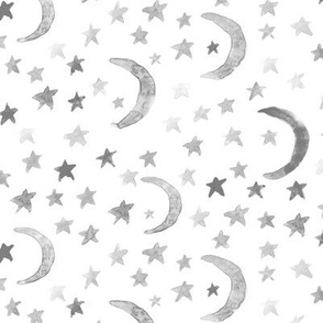 Noir dreamy moons and stars for modern nursery - watercolor astrology kids baby night sky a 123-10