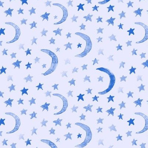 Sapphire blue dreamy moons and stars for modern nursery - watercolor astrology kids baby night sky a 123