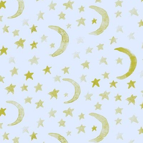 dreamy moons and stars - mustard on baby blue - for modern nursery - watercolor astrology kids baby night sky a 123-12