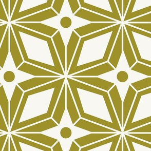 Starburst - Midcentury Modern Geometric Large Scale Olive Green