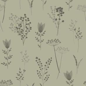 Wild Flower Stems - Subtle Green