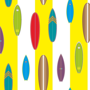 Hanalei Surfboards on sun yellow stripe