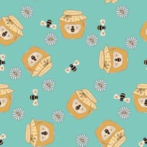 Honey fabric - honey bees, daisies cute design - Mint