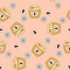 Honey fabric - honey bees, daisies cute design - Peach