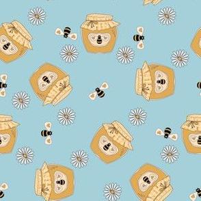Honey fabric - honey bees, daisies cute design - Light blue