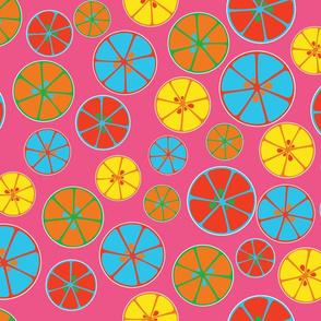 Vibrant Sunshine Oranges on taffy pink