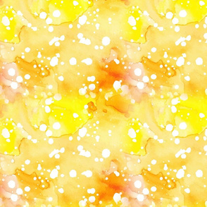 Batik style Popcorn yellow with orange. White sprinkles