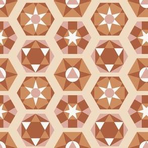 Mid-Century Hexagons - Browns