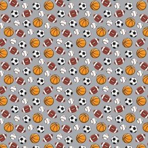 (extra small scale) Play Ball - Sports - Basketball, football, baseball, soccer - grey - C21