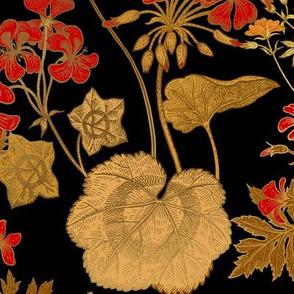 Victorian Red Geranium Gold Floral