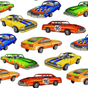 racing cars (blue, red, orange, green, yellow)