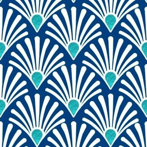 seashell navy blue art deco white with turquoise teal
