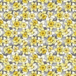 Daffodil Daze - Yellow, Grey & White floral pattern micro print