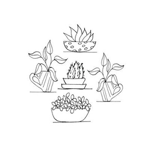 Potted Plants 6 inch embroidery pattern