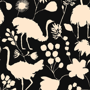 Ostriches Black and Ivory