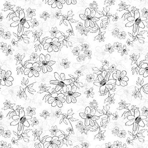 Winterflowers black white medium
