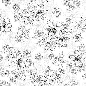 Winterflowers Black White large