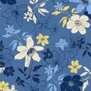 Winterflowers Blue medium