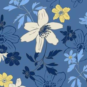 Winterflowers Blue large
