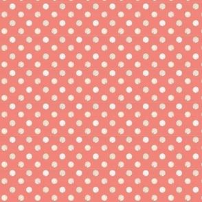 coral polka dot fabric or wallpaper