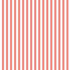 coral and white stripe fabric or wallpaper