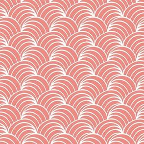 art deco coral geometric ocean waves