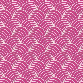 Fuchsia and white art deco retro fabric and wallpaper, ocean waves and geometric design.