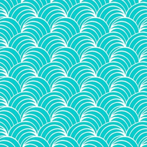 art deco turquoise  geometric ocean waves, teal and white retro fabric and wallpaper