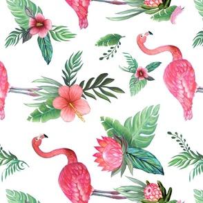 Watercolor flamingo dream garden jungle  rotated for Celeste