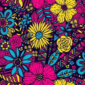 Floral Frenzy (Magenta, Yellow, Blue)