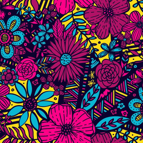 Floral Frenzy (Large Scale Yellow, Magenta, Blue)