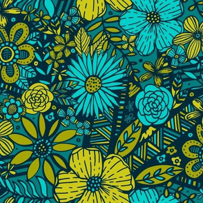 Floral Frenzy (Green & Teal)