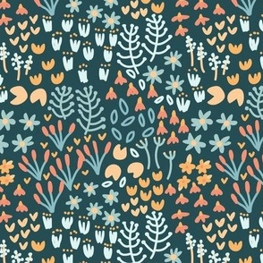 Small Riverside Meadow in Teal Yellow and Orange