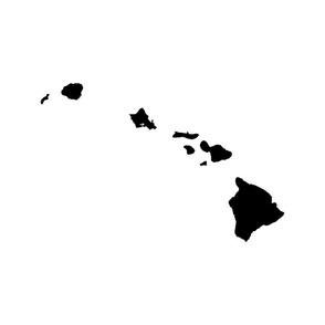 "Hawaiian Islands silhouette - 18"" black on white"