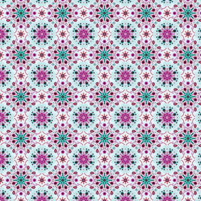 pointillism mandala   Light blue, red and purple – small