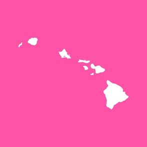 Hawaiian Islands silhouette - FQ panel,  white on Maui Lokelane rose