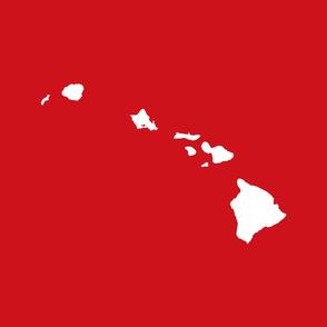 Hawaiian Islands silhouette - FQ panel,  white on Hawaii lehua red