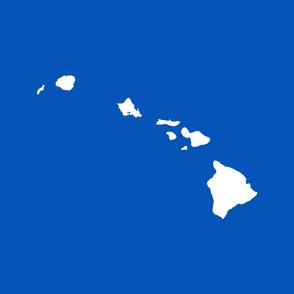 Hawaiian Islands silhouette - FQ panel,  white on picnic blue