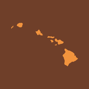 Hawaiian Islands silhouette - FQ panel, copper on brown
