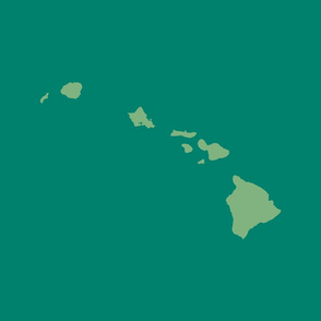 Hawaiian Islands silhouette - FQ panel, green on viridian